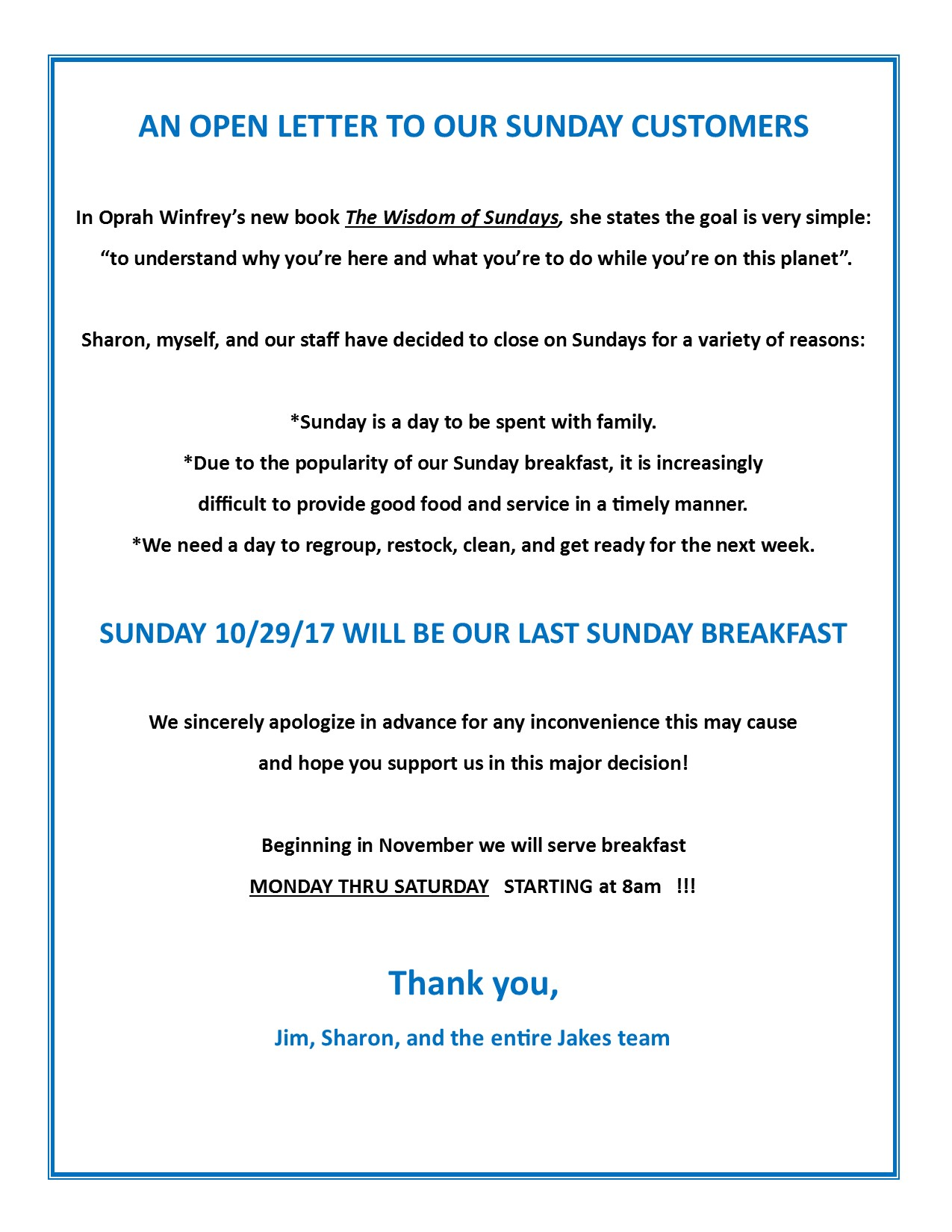 Open Letter to our Sunday Customers